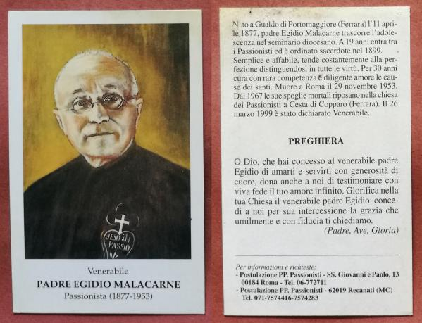Santino holy card venerabile padre egidio malacarne