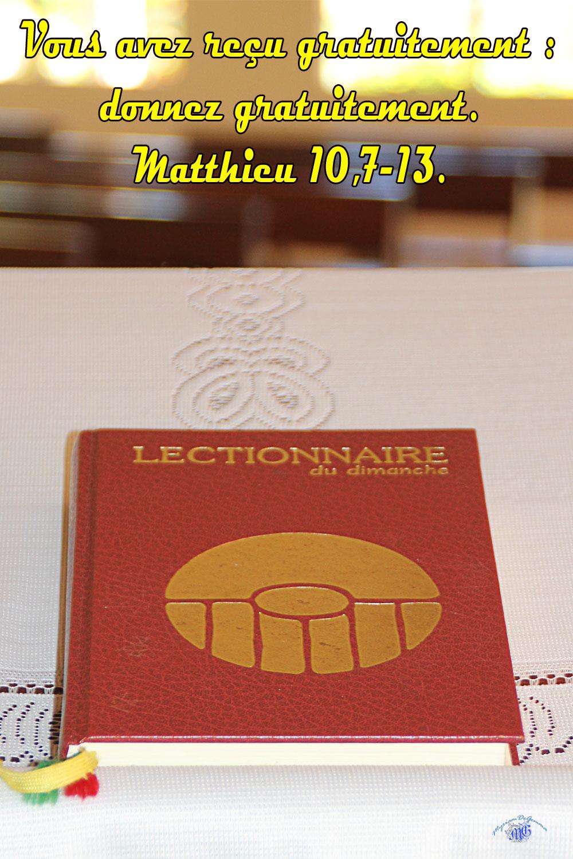 Commentaire de Matthieu 10/ 7-13